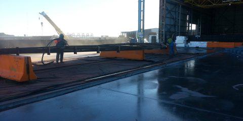 Sandblasting Steel Trusses